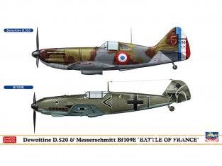 HASEGAWA maquette avion 02332 Duo Dewoitine D.520 et Messerschmitt Bf109E Bataille de France 1/72