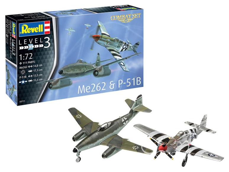 Revell maquette avion 03711 Combat Set Messerschmitt Me262 et P-51B Mustang 1/72