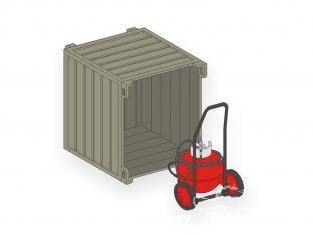 CMK Maquettes militaire mv111 Extincteur à roues PG 50 avec conteneur de transport 1/72