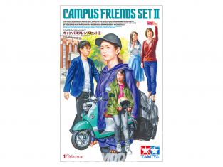 TAMIYA maquette voiture 24356 Campus Friends Set II avec scooter 1/24