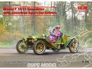 Icm maquette voiture 24026 Modèle T 1913 Speedster avec pilotes de voitures de sport américaines 1/24