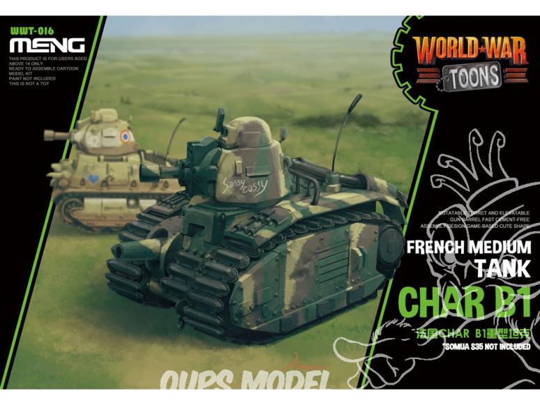 Meng maquette militaire WWT-016 Char Français B1 SERIE WORLD WAR TOON