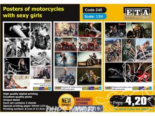 ETA diorama 240 Poster de moto et jeune filles sexy 1/24