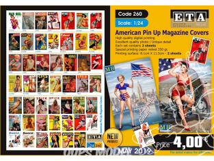 ETA diorama 260 couvertures de magazines américains pin up 1/24