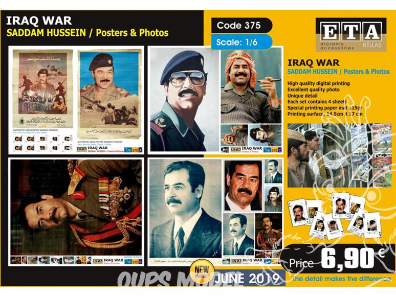 ETA diorama 375 Guerre Iraq Posters et photos Sadam Hussein 1/6