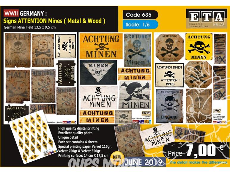 ETA diorama 635 Attention mines Allemand WWII 1/6