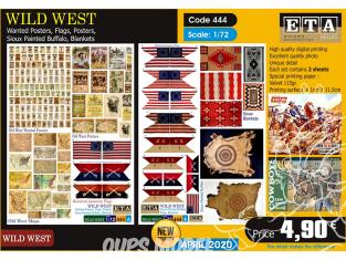 ETA diorama 444 Ouest sauvage affiches wanted, drapeaux, peintures sioux, couvertures 1/72