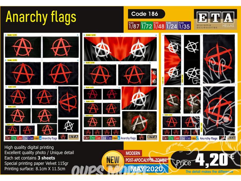 ETA diorama 186 drapeaux anarchique 1/72 1/35 1/24 1/48