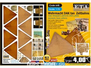 ETA diorama 648 Wehrmacht DAK toile de tente , cartes, photos, boites, uniformes, lettres et documents 1/35
