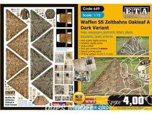 ETA diorama 649 Waffen SS toile de tente , cartes, photos, boites, uniformes, lettres et documents 1/72