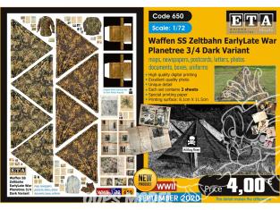 ETA diorama 650 Waffen SS toile de tente , cartes, photos, boites, uniformes, lettres et documents 1/72