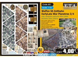 ETA diorama 651 Waffen SS toile de tente , cartes, photos, boites, uniformes, lettres et documents 1/72