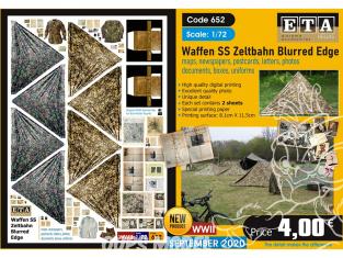 ETA diorama 652 Waffen SS toile de tente , cartes, photos, boites, uniformes, lettres et documents 1/72