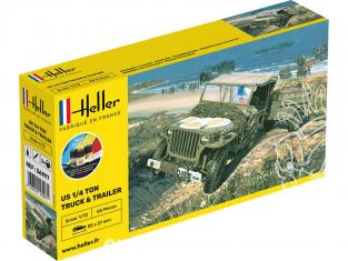 HELLER maquette militaire 56997 STARTER KIT Jeep US 1/4 Ton Jeep et remorque 1/72