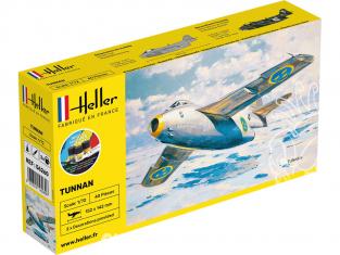 HELLER maquette avion 56260 STARTER KIT SAAB Tunnan J29 1/72