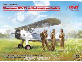 Icm maquette avion 32051 Stearman PT-17 avec Cadets Americain 1/32