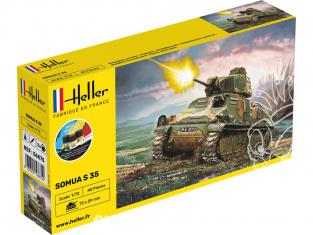 Heller maquette militaire 56875 STARTER KIT Somua S35 Inclus peintures principale colle et pinceau 1/72