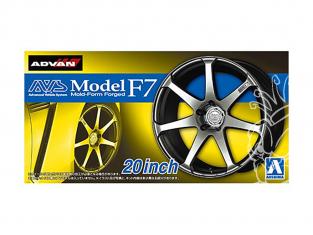 """Aoshima maquette voiture 055168 Jantes ADVAN AVS Model F7 20"""" et pneus 1/24"""