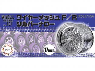 """Fujimi maquette voiture 193533 Treillis métallique F / R argent étroit 17"""" et pneus 1/24"""