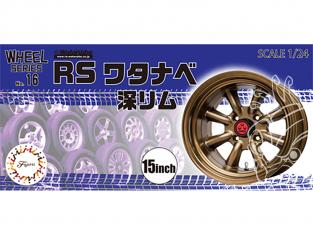 """Fujimi maquette voiture 193571 Jantes RS Watanabe Deep Rim 15"""" et pneus 1/24"""