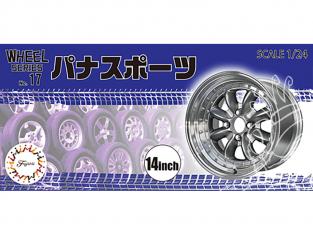 """Fujimi maquette voiture 193588 Jantes Pana Sport 14"""" et pneus 1/24"""