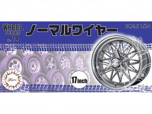 """Fujimi maquette voiture 193557 Jantes Fil d'argent normal type 17"""" et pneus 1/24"""