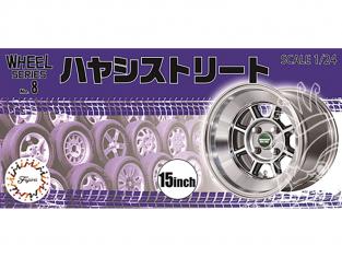 """Fujimi maquette voiture 193496 Jantes Hayashi Street 15"""" et pneus 1/24"""