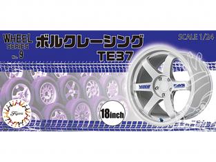 """Fujimi maquette voiture 193502 Jantes Volk Racing TE37 18"""" et pneus 1/24"""