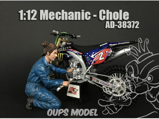 American Diorama figurine AD-38372 Mécanicienne moto Chole 1/12