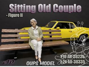 American Diorama figurine AD-38335 Vieux couple assis femme figurine II 1/24