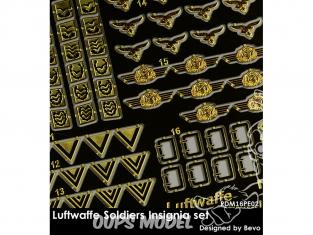 Rado miniatures figurines photodécoupe RDM16PE02 Set Insignes Soldats Luftwaffe 1/16