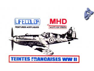LIFECOLOR peinture UAD520 TEINTES FRANCAISES AVIONS WWII