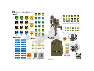 AFV Club kit personnages TW60021 Decalques insignes uniforme R.O.C Army 1960-2000 1/35