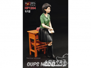 Hobby Fan kit personnages HF1204 Taïwan lycéenne figurine resine GK avec accessoires 1/12