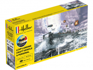 HELLER maquette militaire 56995 LCVP Landing Craft Vehicle and Personal kit complet 1/72