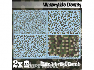 Green Stuff 507508 Decalcomanies a l'eau Camouflage Forêt Hex