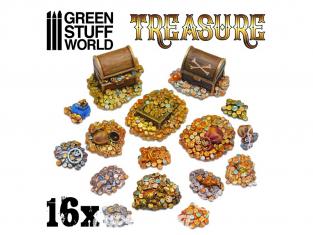 Green Stuff 506648 16x Pièces de Trésor en Résine