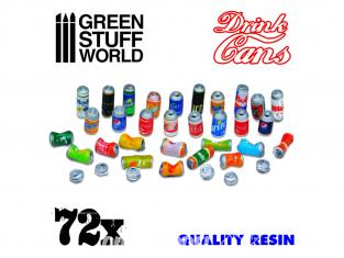 Green Stuff 2397 72x Canettes en Résine 1:76, 1:48, 1:35