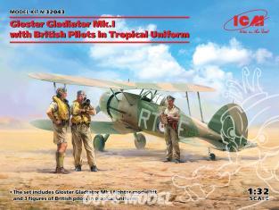 Icm maquette avion 32043 Gloster Gladiator Mk.I avec des pilotes britanniques en uniforme tropical 1/32