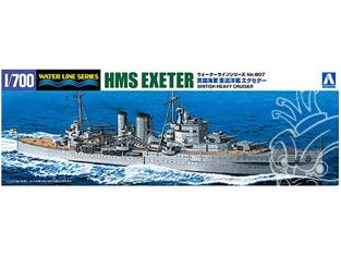 Aoshima maquette bateau 052730 HMS Exeter (68) croiseur lourd 1/700
