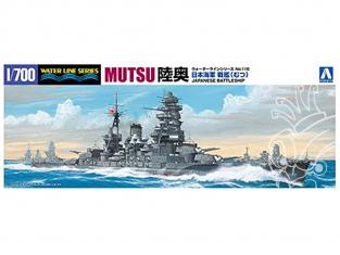 """AOSHIMA maquette bateau 045091 CUIRASSE MARINE IMPERIALE JAPONAISE """"MUTSU"""" 1/700"""