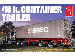 "AMT maquette camion 1196 Remorque de semi avec Container de 40"" 1/24"