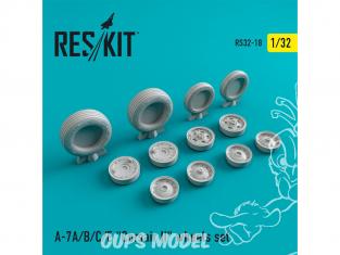 """ResKit kit d'amelioration Avion RS32-0018 Ensemble de roues resine A-7 """"Corsair II"""" (A / B / C / E) 1/32"""
