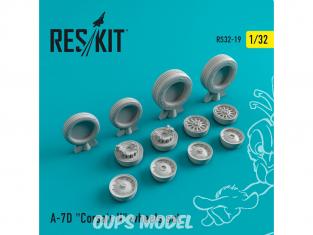 """ResKit kit d'amelioration Avion RS32-0019 Ensemble de roues resine A-7 """"Corsair II"""" (D) 1/32"""