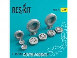 """ResKit kit d'amelioration Avion RS32-0022 Ensemble de roues resine F-15 (C/D/J/N) """"Eagle"""" 1/32"""