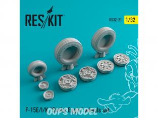 """ResKit kit d'amelioration Avion RS32-0021 Ensemble de roues resine F-15 (E/I/K) """"Strike Eagle"""" 1/32"""