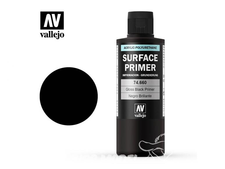 Vallejo Surface Primer 74660 Appret acrylique Polyuréthane Noir 200ml