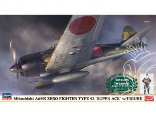 Hasegawa maquette avion 07497 Mitsubishi A6M5 Zero fighter type 52 Super ace avec figurine 1/48
