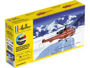 Heller maquette helicoptére 56289 SA316B Alouette III Securitée Civile inclus colle et peintures 1/72