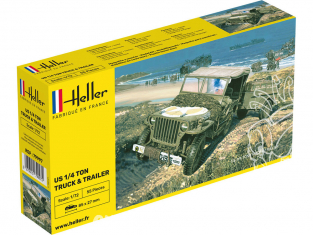 Heller maquette militaire 79997 WILLYS MB Jeep et remorque 1/72
